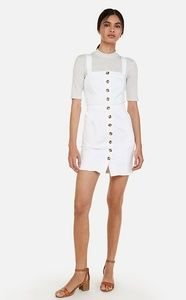 EXPRESS - Button Front Denim Mini Dress/ White/ M